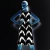 Scribbly ZigZag Chevron Repeat Pattern in Black & White (Dress)