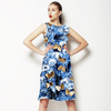Denim Textured Floral Butterfly Print (Dress)