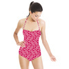 Honey Flower Zig- Zag Red Stripe. (Swimsuit)