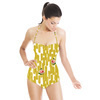 Mustard Yellow Strokes With Pixelated Rose (Swimsuit)