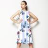 Pink and Blue Stripe Floral (Dress)