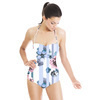 Pink and Blue Stripe Floral (Swimsuit)
