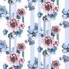Pink and Blue Stripe Floral (Original)