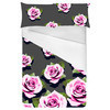 Pink Roses on Grey Background (Bed)