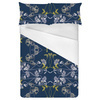 Gentle Flowers on a Blue Background With White and Yellow Tones (Bed)