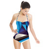 Blue Texture Geometric Pattern (Swimsuit)