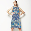 Indigo Check Baroque Seamless Pattern (Dress)