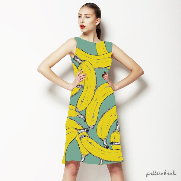 Hand Illustrated Banana Print. Repeat