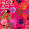 Hot Pink Tropical Drawn Style Floral Blooms (Original)