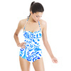 Bohemian Painted Paisley Blue Hand Drawn Arts and Crafts (Swimsuit)