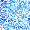 Bohemian Painted Paisley Blue Hand Drawn Arts and Crafts (Original)