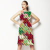 Blocking Color and Stripes No2 Modern Christmas Stripes Pattern Background (Dress)