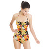 Watercolor Spots Yellow Black (Swimsuit)