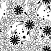 Floral Pattern in Black and White (Original)