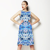 Hand Dyed Circles White Blue (Dress)