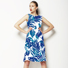 Tropical Leaves Blue Silhouettes (Dress)