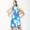 Watercolor Blue Plants on White Background (Dress)