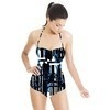 Blue, Black and White Reconstructed Abstract (Swimsuit)