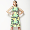 Yellow Green Tropical Leaves Pattern (Dress)