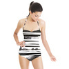 Watercolor Abstract Zebra Stripes Animal Skin (Swimsuit)