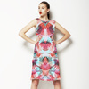 Red Turquoise Tropical Leaf Painted Pattern (Dress)
