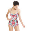 Red Turquoise Tropical Leaf Painted Pattern (Swimsuit)