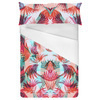 Red Turquoise Tropical Leaf Painted Pattern (Bed)
