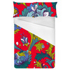 Red Flowers Pattern. Bright Floral Pattern (Bed)