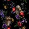 Owls Hidden in Floral Branches (Original)