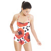 Hand Painted Watercolor Graphic Poppies With Brush Dotts (Swimsuit)