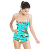 Tropical Flamingo and Lily Pad Water Print (Swimsuit)