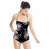 Ditsy White Sprig Floral on Black (Swimsuit)