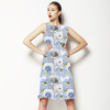 Blue Linear Floral (Dress)