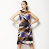 Blotted Tie Dye Textile Effect Stripe Print (Dress)