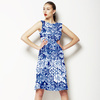 One Colour Blue Floral Ikat Boho Tile (Dress)