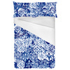 One Colour Blue Floral Ikat Boho Tile (Bed)