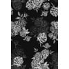 Lithograph Stories Vintage Wallpaper Monochrome Outlines Roses on Dark (Original)