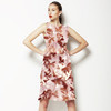 Flowers Leaves Brown and White Pattern (Dress)