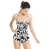 Monochrome Ink Calligraphic Leopard Freehand (Black & White) (Swimsuit)