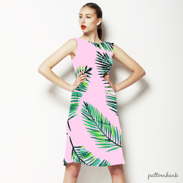 Watercoloiur Palms on Pink