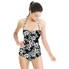 Mini Hand Drawn Black and White Flowers (Swimsuit)