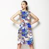 Blue Abstract Flower Pattern Design (Dress)