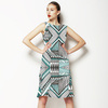 Geometric Native Black Green Pattern (Dress)