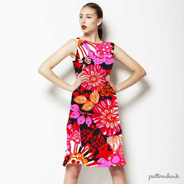 AW1617 Midnight Garden Red Floral Vector