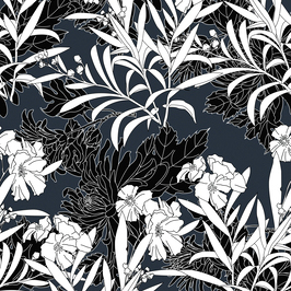 Black White Florals Royalty Free Stock Repeat Floral Patterns